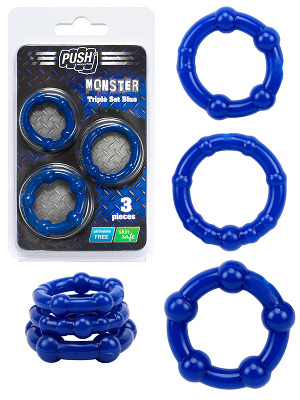 Cock Rings - Triple Blue