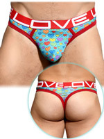 Thong - Love Pride Heart Mesh
